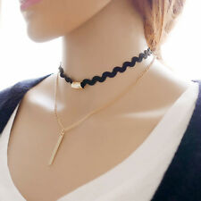 Black Gold Multilayer Necklace Chocker Punk Women Chain Jewelry Simple Design