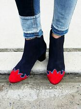 NIB RTL $195! Free People ADELLE Navy Combo Suede Ankle Boots - Size 7.5 / 38 EU
