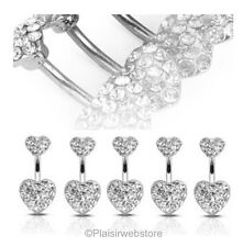 Piercing Nombril crystal style swarovski double strass COEUR