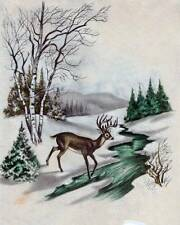 Christmas Deer in Winter vintage art