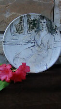 "STUDIO ART POTTERY GLAZED  PAINTED PLATE""WOMAN SEATING NEAR THE WINDOW"" ,SIGNED"