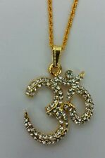 Stunning Rhinestones 24 ct Gold Plated Hindu Legend OM pendant - Religious Gift
