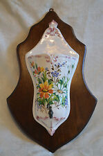 AWESOME Vtg Italian LAVABO Fountain Hand painted Floral Ceramic Wood Plaque
