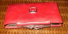 Vintage 1980s Bond Street Italian Red Leather Ladies Bifold Wallet CLASSIC Style