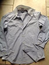 DKNY Mens Light Grey Shirt With  WHITE Collar Size Medium