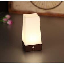 Automatic Wireless PIR Motion Sensor LED Night Light Wooden Base Table Lamp