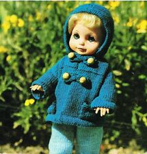 """Dolls clothes knitting pattern for 10,12,&14"""" doll. Laminated copy. (V Doll 49)"""