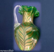 Murano Art glass pitcher with gold design - applied handle FREE SHIPPING