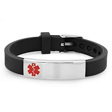 Free Engraving - Stainless Steel with black Rubber Medical ID Bracelet
