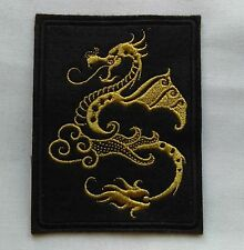100 x 80mm Embroidered Gold Chinese Style Dragon Iron/Sew on Patch