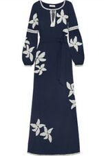 Tory Burch Jillian Caftan Embroidered Floral Dress Sz 2