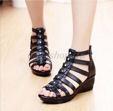 Roman Womens Open Toe Wedge Hollow Sandals Heels Gladiator Pumps Leather Shoes
