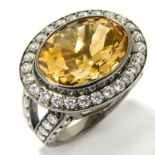 EAST WEST CITRINE AND CZ STERLING BLACK RHODIUM PLATED RING SIZE 6 HSN SOLD OUT