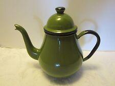 """Vintage Enamelware Enameled Green & Black Tea Coffee Pot enamel Japan 7.5"""" H"""