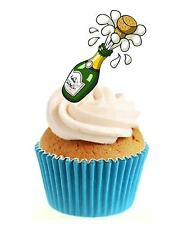 Exploding Champagne 12 Edible Stand Up wafer paper cake toppers congratulations