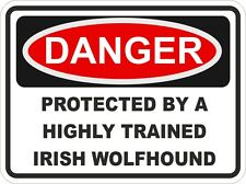 IRISH WOLFHOUND Dog Breed Danger Sticker Pet for Bumper Locker Car Door Locker