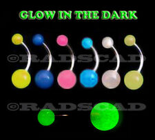 6 x GLOW IN THE DARK LUMINOUS LIGHT navel bar belly ring body piercing B34