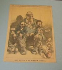 1919 Utica Globe Newspaper Color Cartoon Lenin and Trotsky as Puppets of Germany