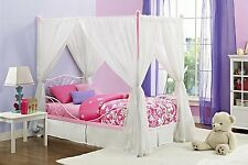 Canopy Bed For Girls Twin Metal Frame Pink Princess Kids Teen Bedroom Furniture