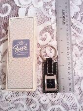 Vintage Fossil Tab Watch KeyFob Black and Silver tone NIB