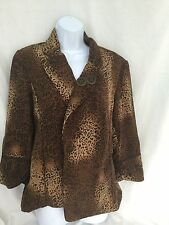 WOMENS Ivy Chic Blazer Like Jacket Coat Leopard Black Brown Buttons Gold Large