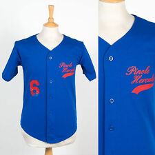 MENS VINTAGE USA RETRO BLUE BASEBALL JERSEY SHIRT LITTLE LEAGUE XS