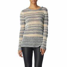 RAG AND BONE CATERINA GREY CREAM STRIPED SWEATER XS