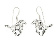 STERLING SILVER HORSE STALLION MUSTANG  3D SOLID EARRINGS
