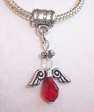 Christmas Angel Red Crystal Holiday Dangle Bead Gift for European Charm Bracelet