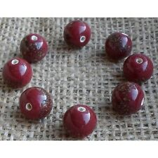 10 HANDMADE INDIAN LAMPWORK GLASS BEADS ~ 12mm Maroon Speckled ~ 58