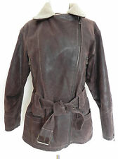Winlit Leather Jacket Over Coat Insulated Faux Fur Collar Brown  Fits M/L