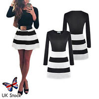 Women Long Sleeve Striped Bodycon Slim Cocktail Evening Party Mini Skater Dress