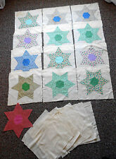 12 Vintage 1930's/40's Appliqued Star 12 3/4'' Quilt Blocks on Muslin Back
