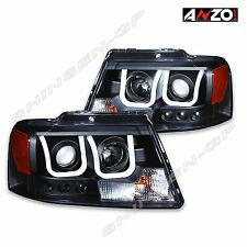 Anzo USA U-BAR Style Projector Headlights Black for 2004-2008 Ford F-150
