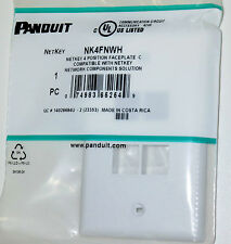 PANDUIT NK4FNWH 1-GANG 4-PORT FACEPLATE WHITE MINI-COM KEYSTONE MODULES UTP STP