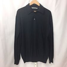 Men's NANI BON NANIBON Charcoal Gray Wool Collared Henley Sweater Sz L