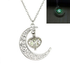 Glowing Crescent Moon Pendant Orb Glow In The Dark Beads Necklace Unusual Warm