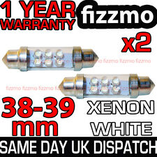 2x 38Mm 39Mm Interior Matrícula Luz Bombilla Festoon 6 Led Xenon Blanco 239 272