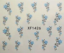 Accessoire ongles, nail art , Stickers décalcomanie, fleurs étoilées bleues