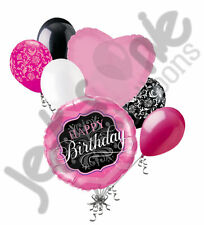 7 pc Happy Birthday Pink & Black Balloon Bouquet Party Decoration Chevron Damask
