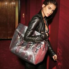 Victoria's Secret Pink Silver Sequin  and Black Getaway Travel Summer Tote Bag