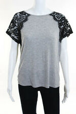Sophyline Gray Black Lace Detail Tee Size Small Medium