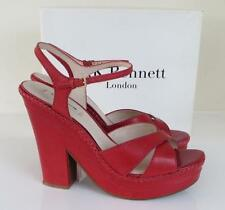 *Boxed* L K Bennett Roxbury Red Leather Wedges Sandals 8 / 41 Heels