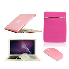 "5 in1 Crystal PINK Case fr Macbook Air 11""+Key Cover+LCD Screen+Sleeve Bag+Mouse"