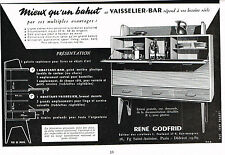PUBLICITE ADVERTISING   1953    RENE GODFRID    vaisselier-bar  meubles