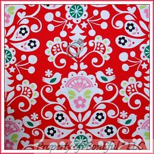 BonEful Fabric FQ Cotton Red White Xmas Flower Tree Bird Heart Damask Swirl RARE