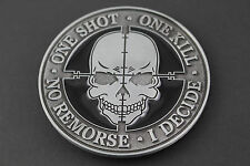 ONE SHOT ONE KILL METAL SKULL BELT BUCKLE GAMER