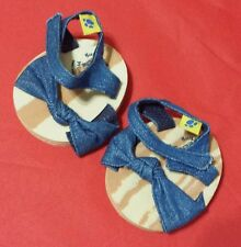 Build a Bear SPARKLE SHOE SANDALS BLUE WITH WOOD LIKE BOTTOMS ~GOOD CONDITION