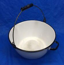Vintage White Enamelware Slop Pot Pail - Wood Handled Bail Unique