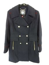 Vince Camuto Wool Blend Double-Breasted Trench Coat - L - Navy/Oxblood  4R34H